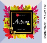 autumn sale background with... | Shutterstock .eps vector #755625442