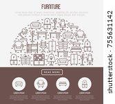 furniture concept in half... | Shutterstock .eps vector #755631142