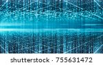 futuristic technology blue... | Shutterstock . vector #755631472