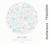 baby care concept in circle... | Shutterstock .eps vector #755632042