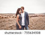 fashion young couple in trendy... | Shutterstock . vector #755634508