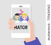dating service  mobile... | Shutterstock .eps vector #755634562