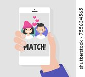 dating service  mobile... | Shutterstock .eps vector #755634565