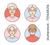 the set of elderly people.... | Shutterstock .eps vector #755638156