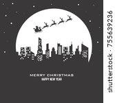 santa claus reindeer sleigh...   Shutterstock .eps vector #755639236