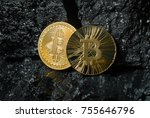 bitcoin is a gold coin. the... | Shutterstock . vector #755646796