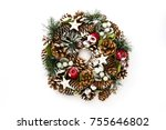 christmas wreath isolated on... | Shutterstock . vector #755646802