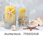 Wax Candles  In Jars With Sea...