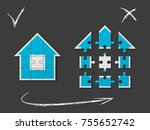 puzzle house presentation. home ... | Shutterstock .eps vector #755652742