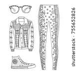 hand drawn clothes set. fashion ... | Shutterstock .eps vector #755652826