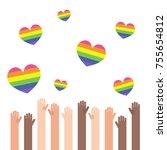 lgbt rainbow hearts.... | Shutterstock .eps vector #755654812