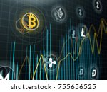 bitcoin and other virtual money.... | Shutterstock . vector #755656525