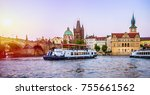 prague is the capital of the... | Shutterstock . vector #755661562