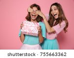 happy pretty young woman...   Shutterstock . vector #755663362