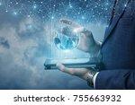 businessman running on the... | Shutterstock . vector #755663932