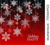 merry christmas invitation...   Shutterstock .eps vector #755664922