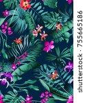 seamless bright multi color... | Shutterstock . vector #755665186