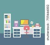 vector creative office room... | Shutterstock .eps vector #755666002