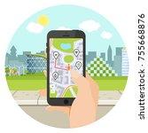 navigation smartphone with hand ... | Shutterstock .eps vector #755668876