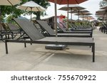 daybed  on  the beach in water... | Shutterstock . vector #755670922