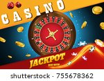 casino roulette wheel with... | Shutterstock .eps vector #755678362