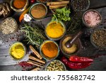 spices and herbs in wooden... | Shutterstock . vector #755682742