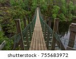 Amazing Wooden Rope Bridge Ove...