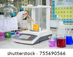 scientists are drops of... | Shutterstock . vector #755690566