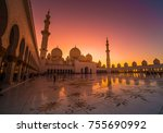 evening view from sheikh zayed... | Shutterstock . vector #755690992