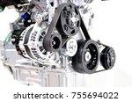 car generator with drive belt... | Shutterstock . vector #755694022