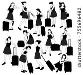 collection of black and white... | Shutterstock .eps vector #755696482