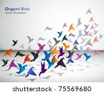 indoor flight  origami birds... | Shutterstock .eps vector #75569680