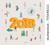 lovely vector new year 2018... | Shutterstock .eps vector #755698222