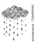 illustration with cloud and... | Shutterstock .eps vector #755699392
