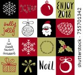 christmas and new year's signs... | Shutterstock .eps vector #755701342