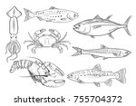 vector seafood set of seafood | Shutterstock .eps vector #755704372