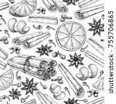 mulled wine ingradients... | Shutterstock . vector #755706865
