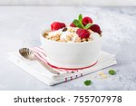 oat granola with berries and... | Shutterstock . vector #755707978
