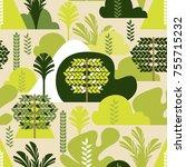 seamless pattern. trees... | Shutterstock .eps vector #755715232
