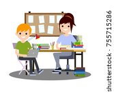 cartoon flat illustration   two ... | Shutterstock .eps vector #755715286