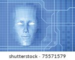 a futuristic polygon face...