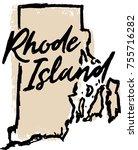 hand drawn rhode island state... | Shutterstock .eps vector #755716282