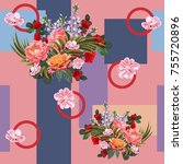 seamless pattern with beautiful ... | Shutterstock .eps vector #755720896
