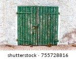 Old Dilapidated Wooden Door Of...