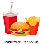 fast food dishes isolated on... | Shutterstock .eps vector #755729635