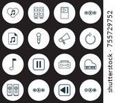 multimedia icons set. includes... | Shutterstock .eps vector #755729752