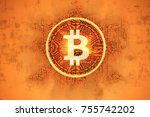 illuminated symbol  bitcoin... | Shutterstock . vector #755742202