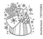 magic christmas  new year... | Shutterstock .eps vector #755742802
