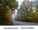 foggy autumn morning drive in... | Shutterstock . vector #755744995