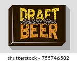 draft beer typographic sign...